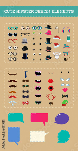 Cute hipster style design element set