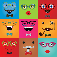 Set of funny hipster monster eyes and face expressions