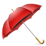 Realistic Open Red Umbrella Isolated On White Background