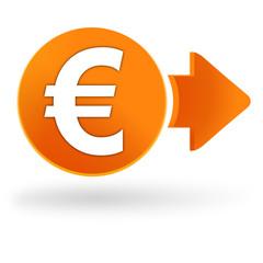euros sur symbole web orange