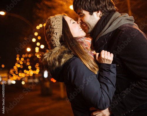 canvas print picture Young couple in love outdoor