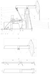 Engineering drawing of the pumping unit. Vector format