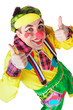 Clown showing ok sign with her fingers