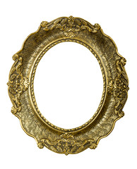 Old gold vintage picture frame on white background