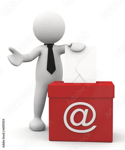 omino bianco con mail box
