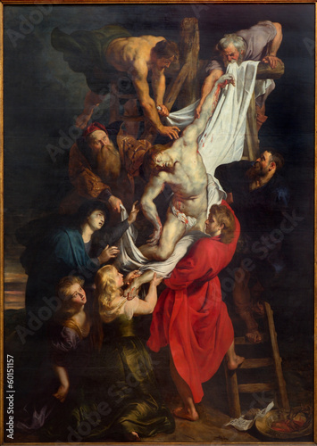 Leinwanddruck Bild Antwerp - Raising of the cross by Rubens from cathedral