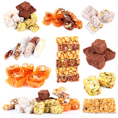 Tasty oriental sweets collage isolated on white
