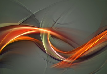 Abstract fire waves on grey background