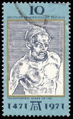 DDR - CIRCA 1971: a stamp printed in DDR shows Self-Portrait, by