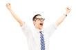 Excited guy with raised hands gesturing happiness