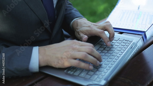 businessman working on laptop in the garden