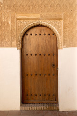 Antique door in Generalife palace of Alhambra, Granada