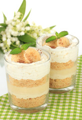 Delicious dessert with banana and caramel