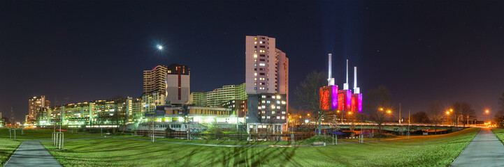 Hannover district Linden-Limmer at night. 180 degree panoramia.