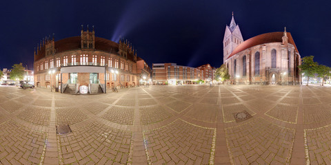 Hannover Marktplatz. Night 360 degree panoramic composition.
