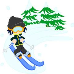スキーで軽やかに滑る男性。