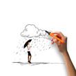 Woman under rain