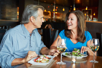Mature Couple Enjoying Meal At Outdoor Restaurant
