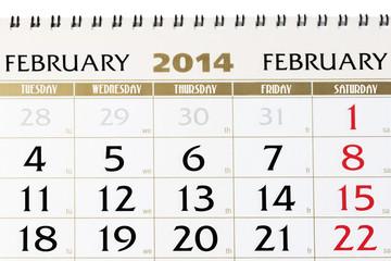 Calendar page on February 2014.