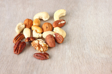 top view of Assorted healthy mixed nuts