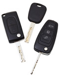 top view of three vehicle keys
