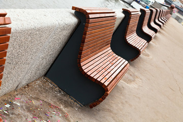 benches on river embankment