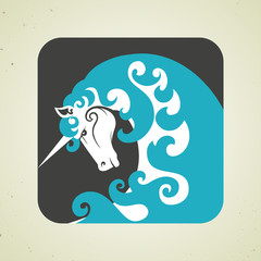 Icon of magic mythical unicorn with a horn