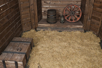 Interior of a wooden hayloft