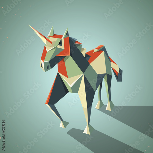 Three dimensional magic origami unicorn from folded paper