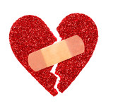 Broken Heart. Glitter ripped heart fixed with adhesive bandage
