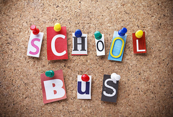 "Message ""SCHOOL BUS""on cork board."
