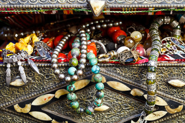 antique jewelry in ancient treasure chest