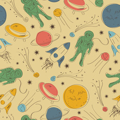 Seamless pattern, space vector illustration