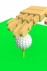 ゴルフボールをセットする
