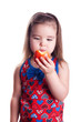 little girl and an apple
