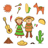Mexican icon vector set
