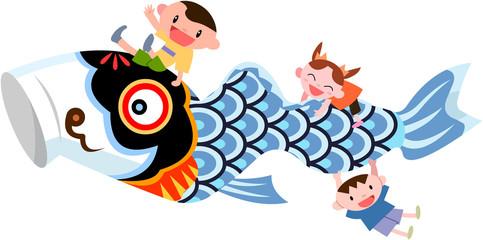 鯉のぼりと子ども達