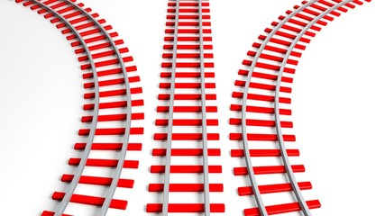 Three 3D rendering red railway tracks, isolated on white