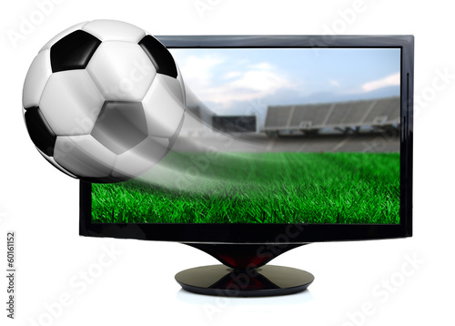 Soccer ball in motion flying off screen isolated