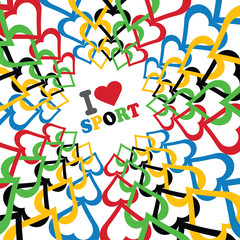 I love sport and Ornament of hearts