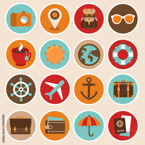 Vector travel and vacation icons