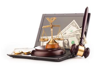 laptop computer keyboard  money and gavel