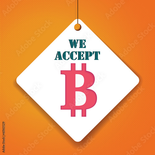 We accept bit-coin- Vector Paper tag / sticker