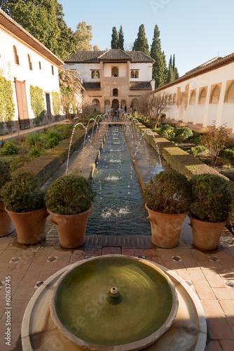Inner yard of Generalife palace in Alhambra, Granada