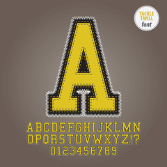Yellow Tackle Twill Alphabet and Digit Vector