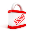 Red padlock closeup concept protect text symbol