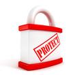 Red padlock closeup concept protect text symbol