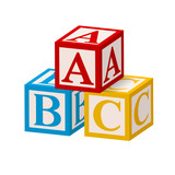 Alphabet Block ABC isolated on white background