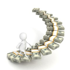 3d man human character step up dollar packs ladder