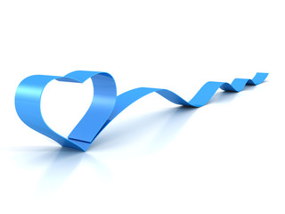 Valentine's Day blue heart silk ribbon bow waved on white